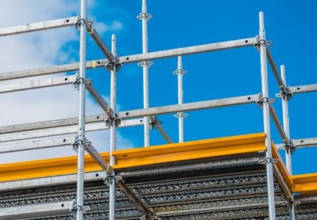Aluminum Scaffolding Setup. Construction Equipment Closeup. Imagens