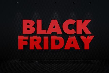 Red Black Friday 3D Lettering on a Dark Wall. 3D Render Illustration.