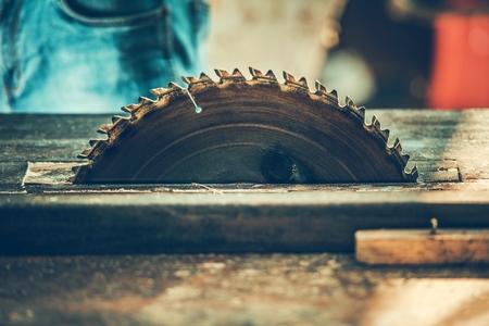 Circular Woodwork Saw Closeup. Carpenter Power Tool. Construction Industry.