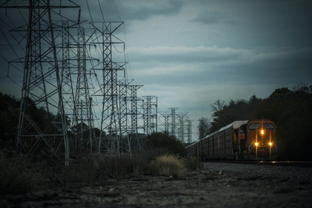 Power Lines and the Railroad. Illinois Countryside, United States of America. Reklamní fotografie