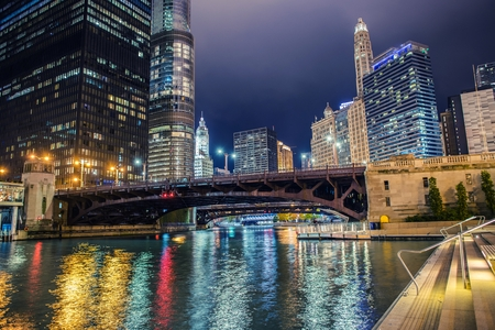 Illuminated City of Chicago. Colorful Riverwalk. Chicago, Illinois, United States of America.