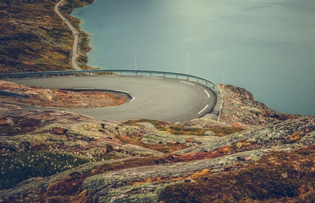 Winding Mountain Road and the Lake Below. Scenic Norwegian Landscape. Reklamní fotografie
