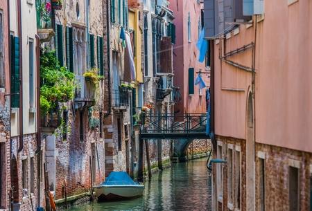 Venetian Canal and Italian Architecture. Venice, Italy. Stock Photo