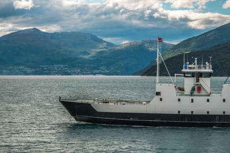 Norwegian Fjord Ferry. Vessel on the Route to the Destination. Norway, Europe.