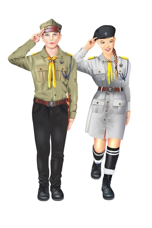 Polish Scouts Illustration Isolated on Solid White. Caucasian Boy and Girl.