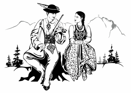 Polish Highlanders Couple in Traditional Costumes. Black and White Illustration.