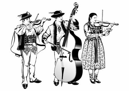 Polish Highlanders Gorale Traditional Folk Band as Black and White Vector Style Illustration Isolated on White.