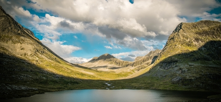 Raw Norwegian Landscape Panorama. Norway, Europe. Mountains and the Lakes.