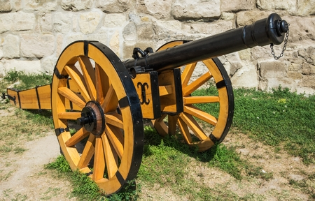 Wooden Cannon Gun. Artillery that Launches a Projectile Using Propellant.