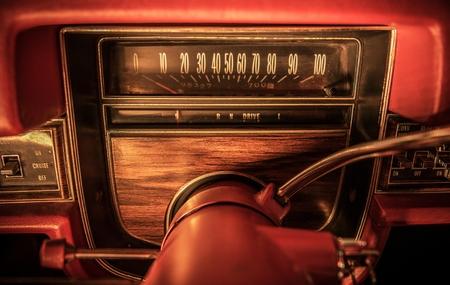 Classic Car Dashboard with Miles per Hour Speedometer. Retro Transportation Theme. Reklamní fotografie