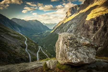 World Famous Trollstigen Road in the Norway. Rauma Municipality, Møre og Romsdal County.