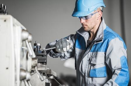 Caucasian Industrial Worker. Metalworking Industry. Lathe Operator. Reklamní fotografie