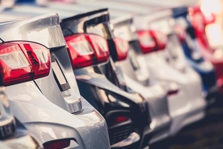 Line of Factory New Modern Compact Cars. Transportation Industry. Reklamní fotografie