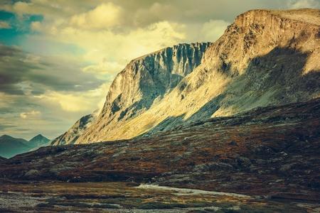 Norwegian Mountains Scenery. Sunset in the Trollstigen, Norway.