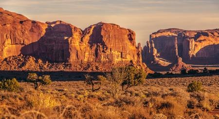 Arizona Sandstone Desert Landscape at Sunset. United States of America.