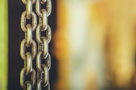 Heavy Duty Chain and Right Side Copy Space. Industrial Background Concept.