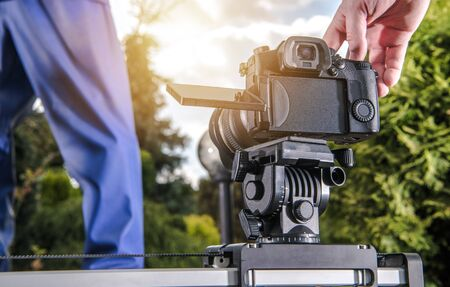 Making Video Using Automatic Camera Slider. Modern Videography Equipment. Stock Photo