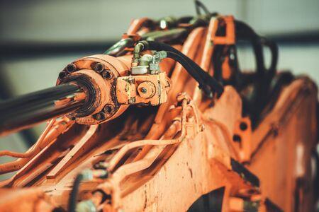 Broken Excavator Arm. Repair Heavy Machinery Equipment. Pneumatic System.