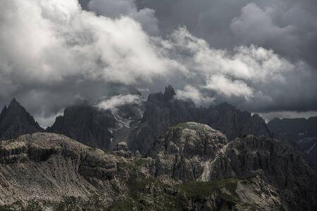Cadini Di Misurina Mountain Peaks Covered by Stormy Clouds. Belluno Province, Italy. Italian Dolomites.