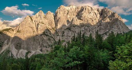 Front Window on Mount Prisojnik. The Julian Alps in Slovenia. Scenic Summer Vista. Imagens