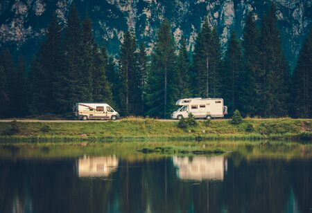 Camper Vans and the Lake. Scenic Overnight Boondocking. Vacation in a Motorhome.