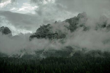 Foggy Mountain Range. Italian Dolomites. Misurina, Italy.