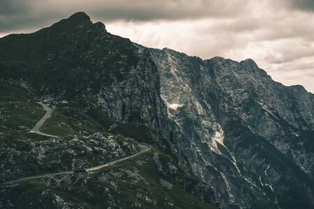 Road to Mount Mangart. Mangrt is a Mountain in the Julian Alps, located in the Slovenia. With an Elevation of 2679 metres. Scenic Slovenian Landscape.