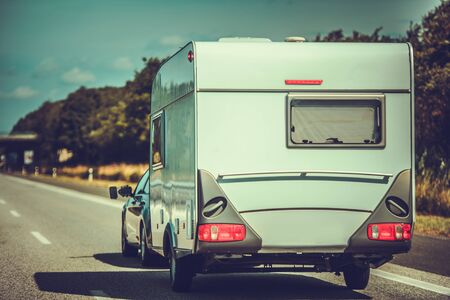 Travel Trailer Caravaning. Summer Vacation Family Road Trip. Recreational Vehicle Theme.
