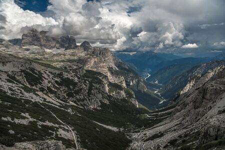Italian Dolomites Belluno Province. Auronzo Di Cadore in the Valley. Scenic Mountain Landscape.
