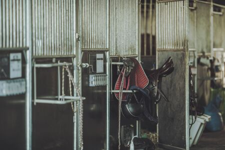 Equestrian Facility Horse Barn. Animal Boxes and Some Riding Equipment. Imagens