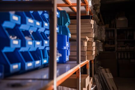 Retail Store Racking Systems for Retail Warehouses. Products Management and Storing. Industry Concept.