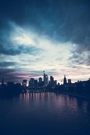 Downtown Frankfurt am Main Darmstadt Germany Vertical Sunset Photo. Bluish Color Grading.