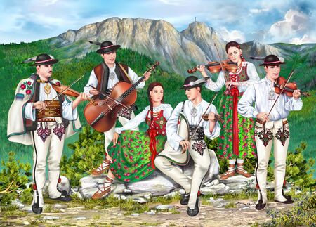 Polish Lesser Poland Highlanders Traditional Zakopane Folk Band of SIx People in Podhale Costumes Playing Violins and Singing. Detailed Illustration. Фото со стока