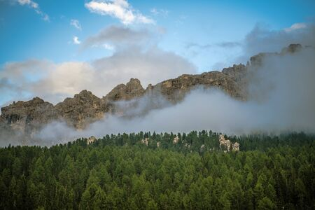 Cloudy Dolomites Mountains Landscape. Northern Italy Region.