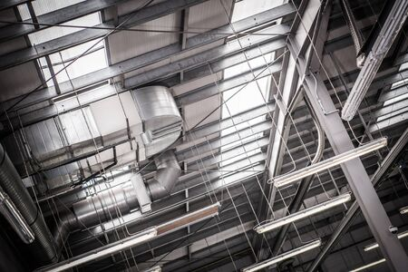 Warehouse Pro Ventilation. Heating and Cooling Inside Large Buildings. Modern Air Conditioning Technologies.