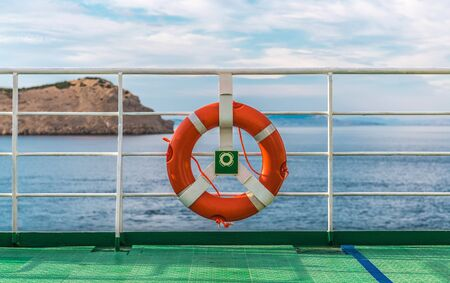 Cruise Ship Vessel Ship Lifebuoy Ling Closeup Photo. Safety on the Water. Stok Fotoğraf