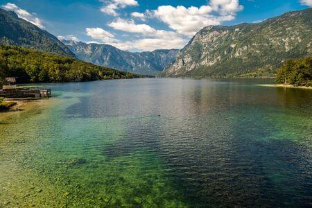 Scenic Lake Bohinj in the Slovenia. Fall Season at the Lake. Bohinj Valley of the Julian Alps. Upper Carniola Region, and Part of Triglav National Park.