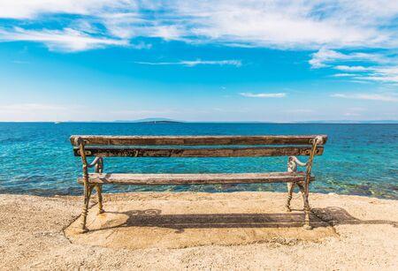 Scenic Sea Front Bench. Adriatic Sea Summer Vacation Destination.