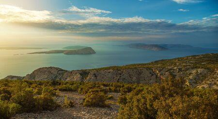 Croatian Scenic Landscape During Sunset. Northwest Croatia. Adriatic Sea. Stok Fotoğraf