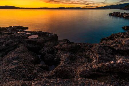 Scenic Mediterranean Sea Coast at Dusk. Croatian Adriatic Sea Scenery.