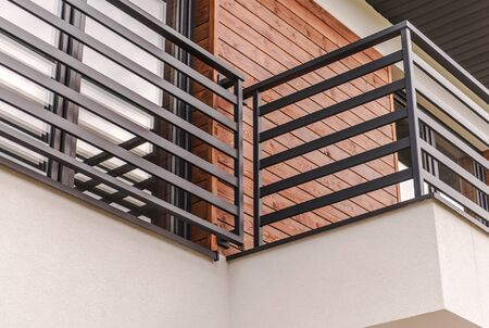 Modern Residential Balcony Closeup Photo. Architecture Theme.