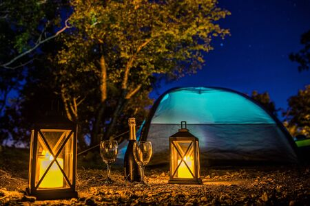 Romantic Camping Night with Bottle of Good Prosecco, Two Glasses, Candle Lanterns and Starry Night. Scenic Getaway with Extras.