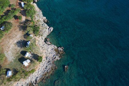 Sea Front Mediterranean Camping RV Park. Motorhome Vacation in Croatia. Recreational Vehicles.