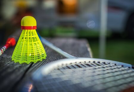 Badminton Racquet Sport. A Shuttlecock With a Plastic Skirt. Campsite Games. Sport Theme.