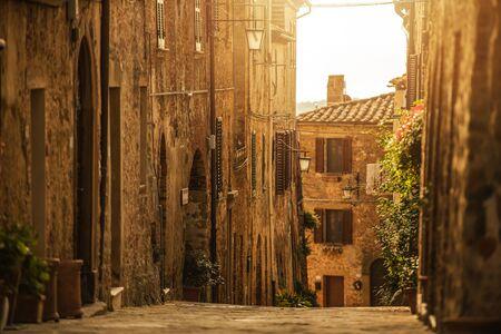 Beautiful Tuscany Village Street During Autumn Sunset. Italy, Europe.