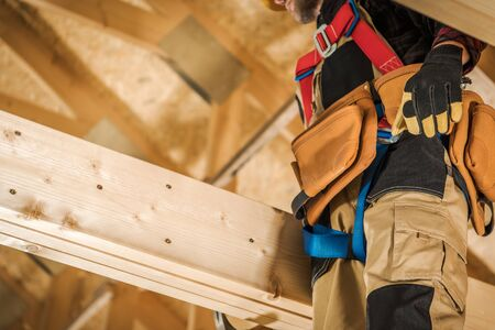 Wood Elements Construction Worker. House Building Industrial Theme.