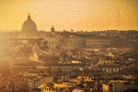 Rome and Vatican City Panoramic Scenery During Sunset.  Stock Photo