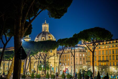 Rome Italy at Night. Stone Pines and Church of the Most Holy Name of Mary. Scenic Italian Architecture.