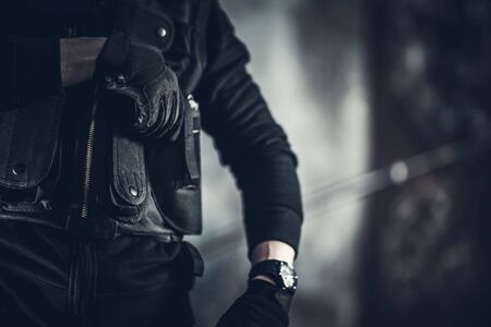 Security Guard Job Concept Photo. Tactical Vest Closeup.