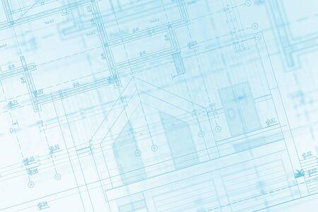 Hausentwicklung Blaupause Konzept Illustration. Technische Auslosung. Architekturbranche.